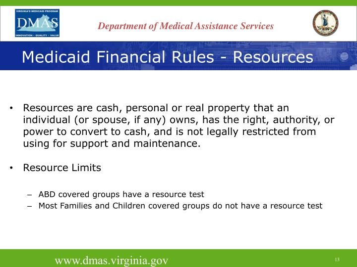 Medicaid Financial Rules - Resources