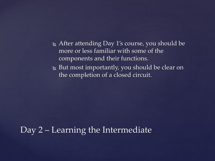 After attending Day 1's course, you should be more or less familiar with some of the components and their functions.
