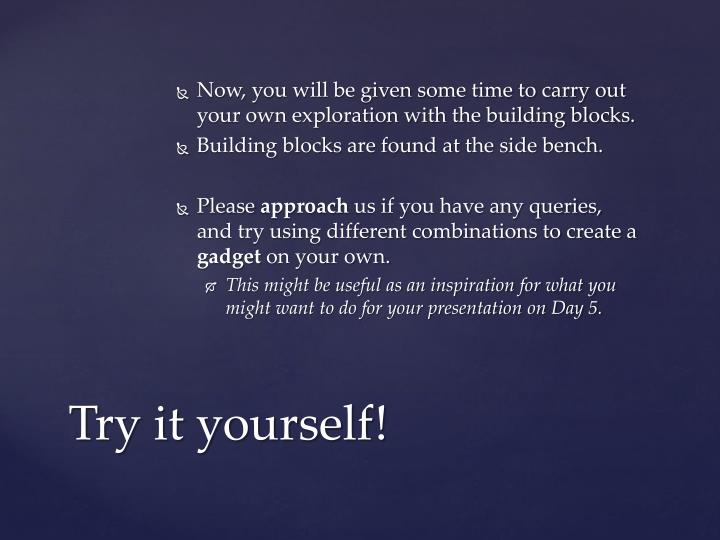 Now, you will be given some time to carry out your own exploration with the building blocks.