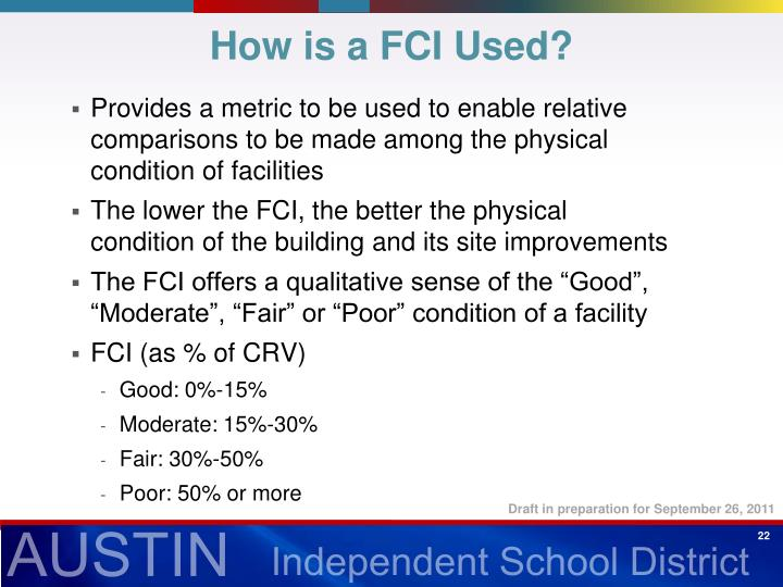 How is a FCI Used?