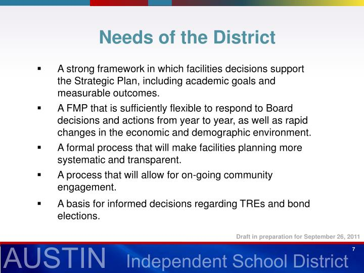 Needs of the District