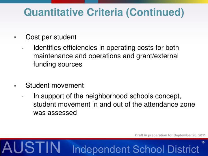 Quantitative Criteria (Continued)