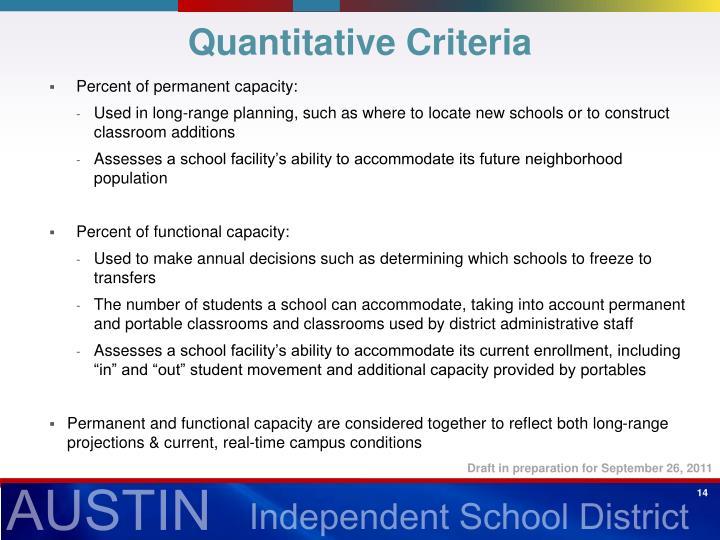 Quantitative Criteria