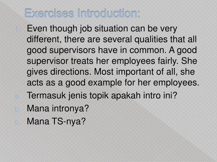 Exercises Introduction: