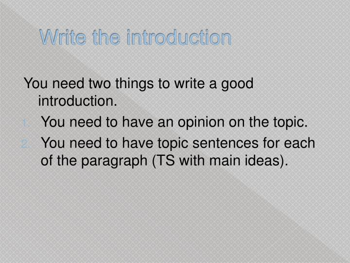 Write the introduction