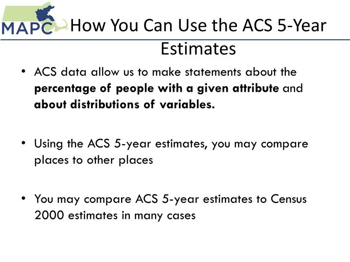 How You Can Use the ACS 5-Year Estimates