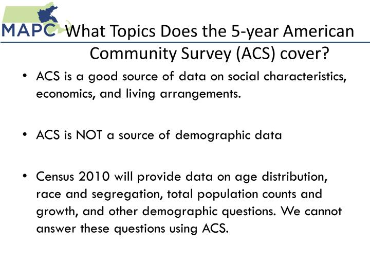 What Topics Does the 5-year American Community Survey (ACS) cover?
