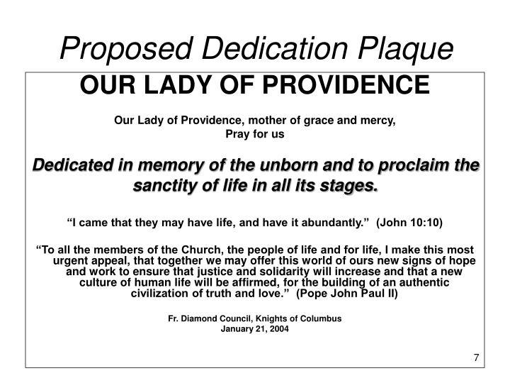 Proposed Dedication Plaque