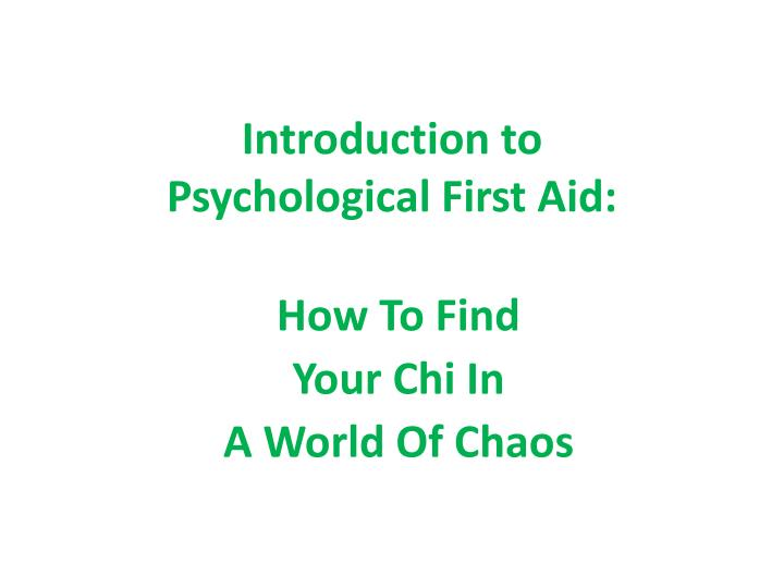 introduction to psychological first aid