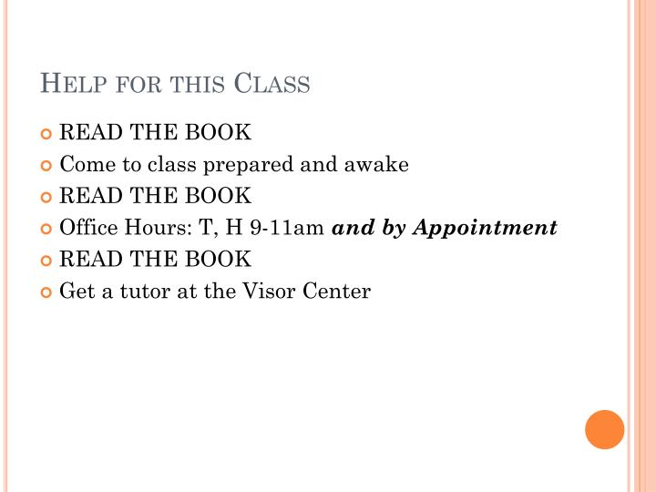 Help for this Class
