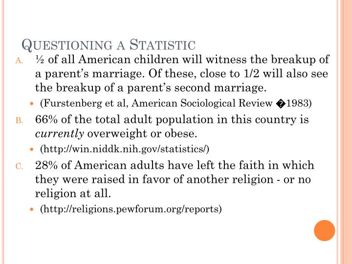 Questioning a Statistic