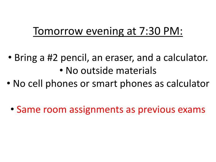 Tomorrow evening at 7:30 PM: