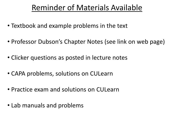 Reminder of Materials Available
