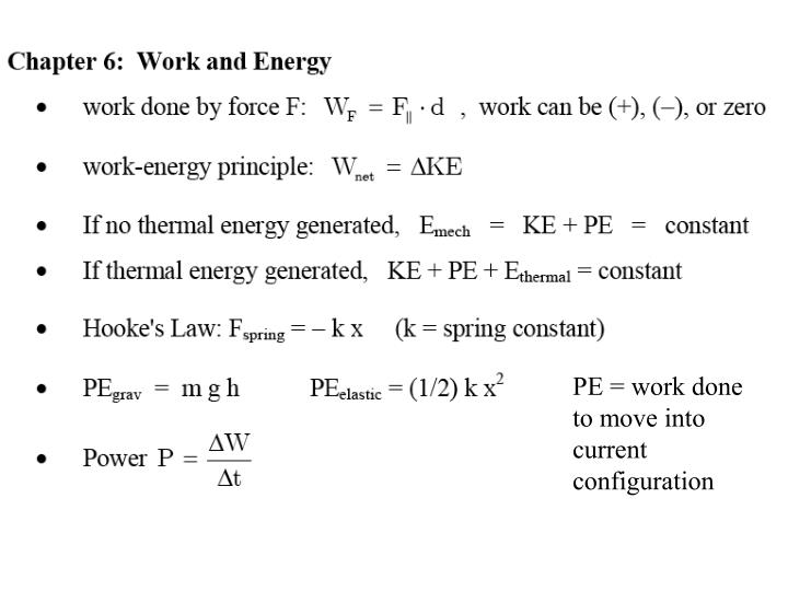 PE = work done to move into current configuration