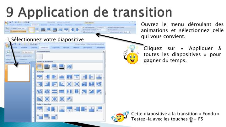 9 Application de transition