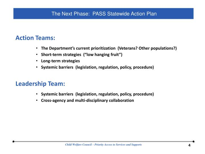 The Next Phase:  PASS Statewide Action Plan