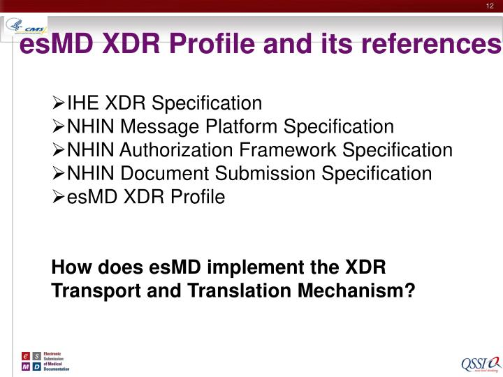 esMD XDR Profile and its references