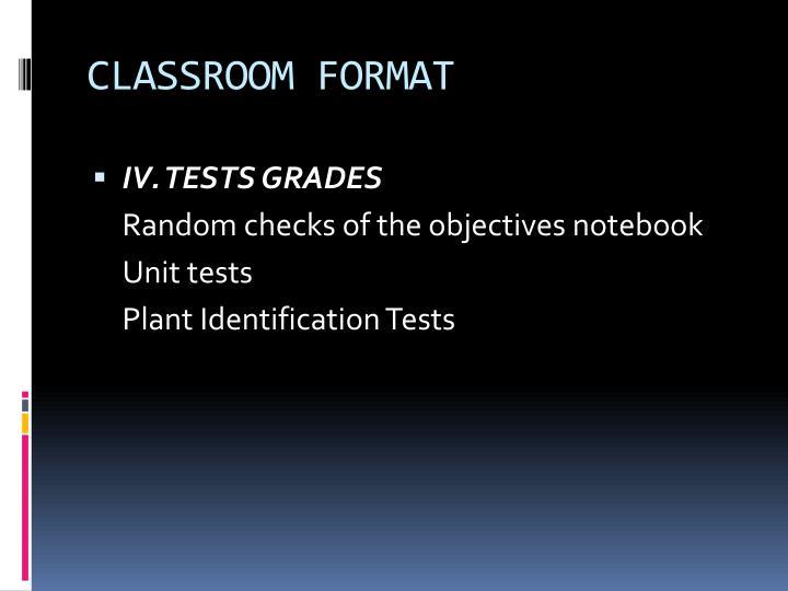 CLASSROOM FORMAT