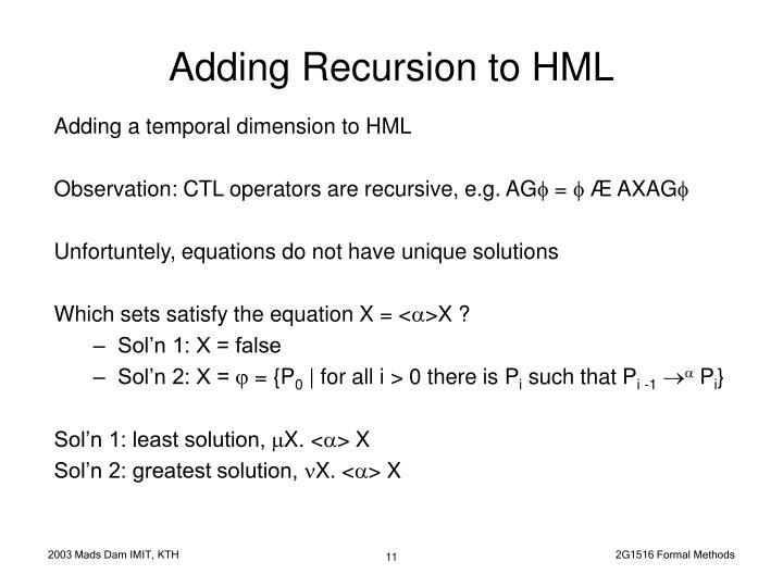 Adding Recursion to HML