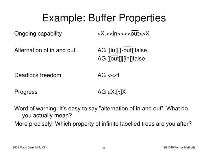 Example: Buffer Properties
