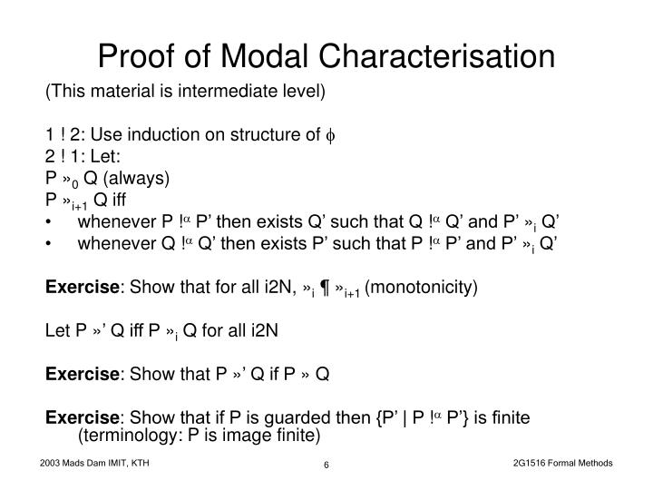 Proof of Modal Characterisation