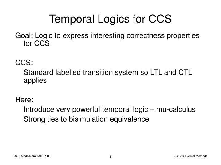 Goal: Logic to express interesting correctness properties for CCS