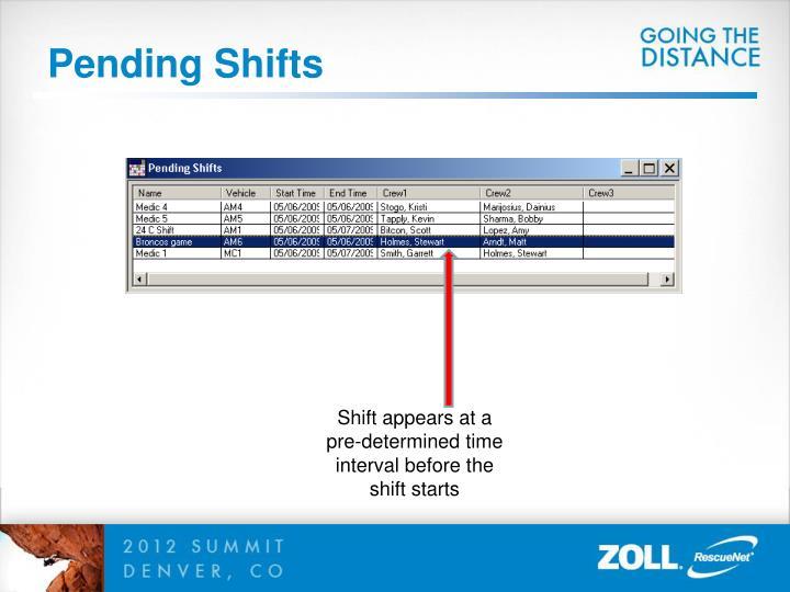 Pending Shifts