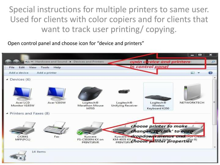 """Open control panel and choose icon for """"device and printers"""""""