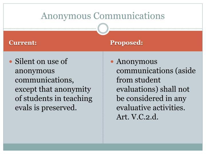 Anonymous Communications