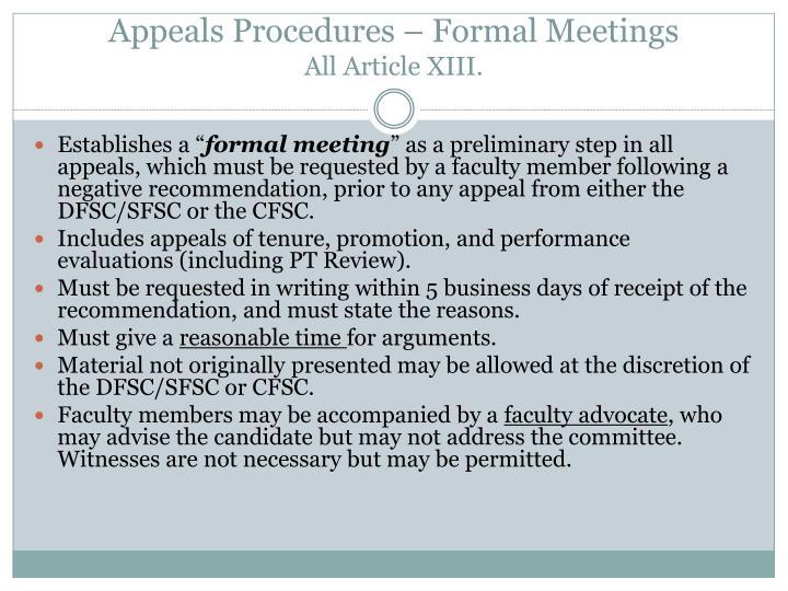 Appeals Procedures – Formal Meetings