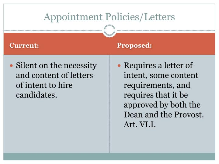 Appointment Policies/Letters