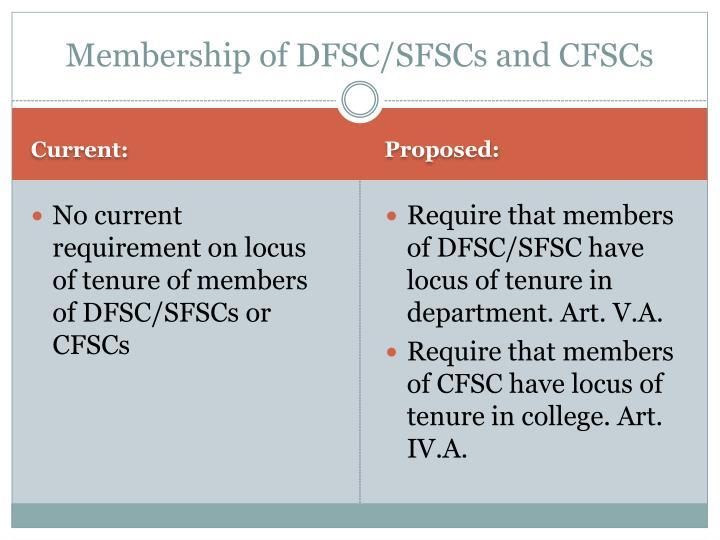 Membership of DFSC/SFSCs and CFSCs