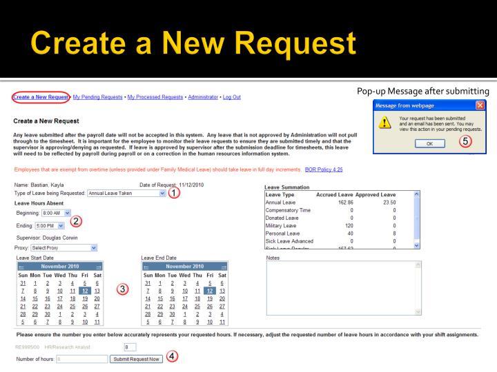 Create a New Request