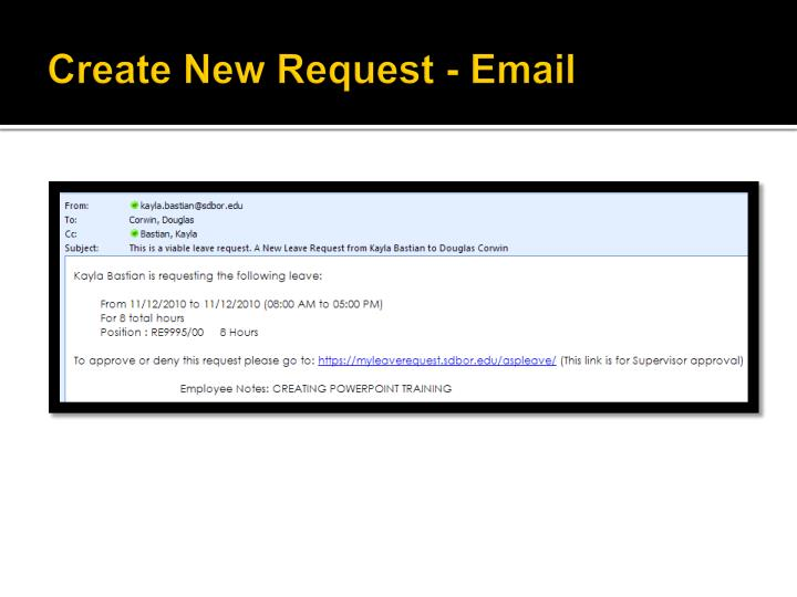 Create New Request - Email