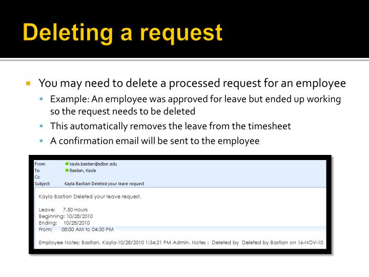 Deleting a request