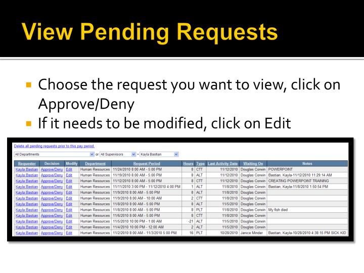 View Pending Requests