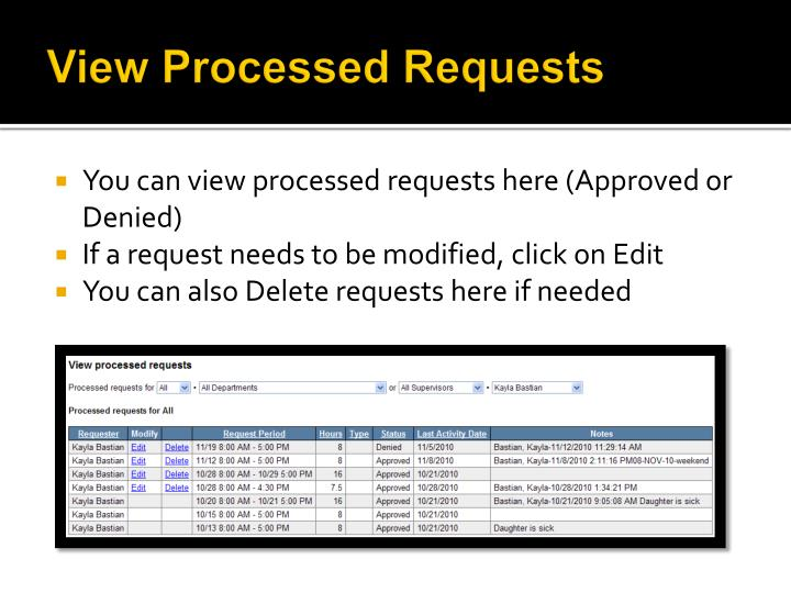 View Processed Requests