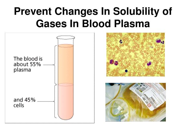 Prevent Changes In Solubility of Gases In Blood Plasma