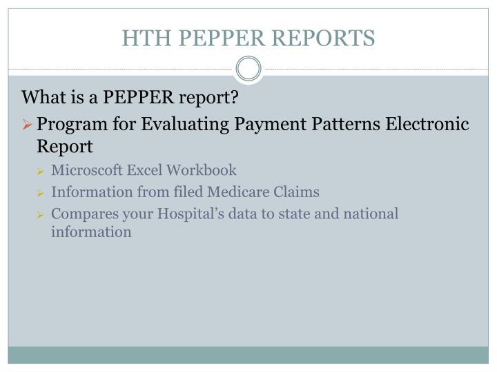 HTH PEPPER REPORTS