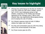 key issues to highlight