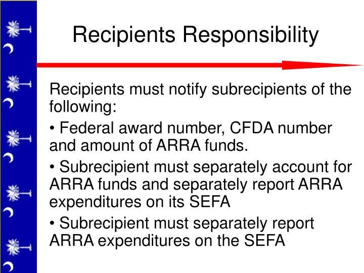 Recipients must notify subrecipients of the following: