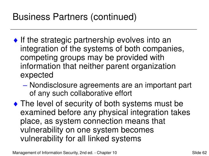 Business Partners (continued)