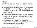 ciso qualifications and position requirements