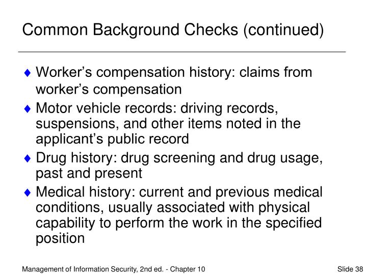 Common Background Checks (continued)