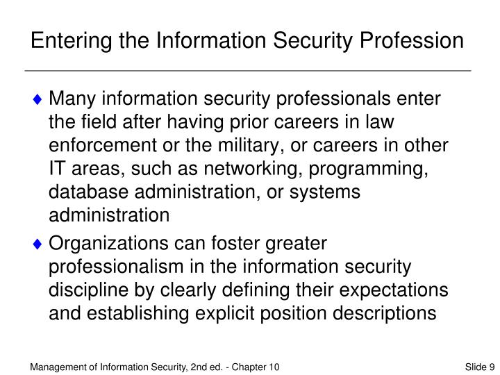 Entering the Information Security Profession