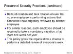 personnel security practices continued