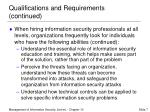 qualifications and requirements continued