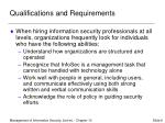 qualifications and requirements
