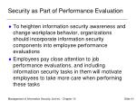 security as part of performance evaluation