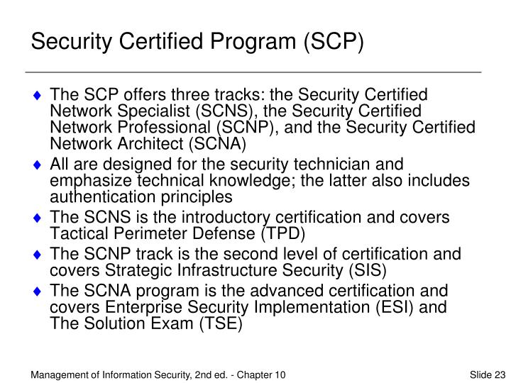Security Certified Program (SCP)